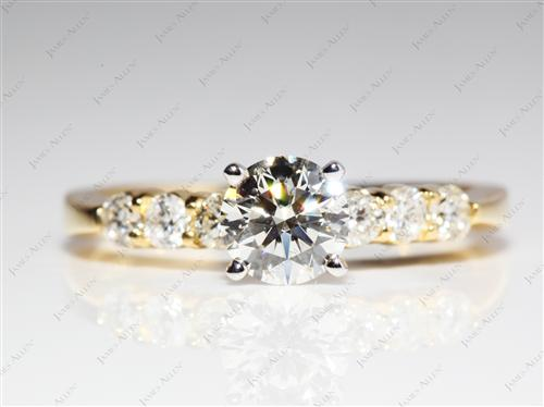 Gold 0.90 Round cut Diamond Rings