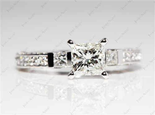 Platinum 1.01 Princess cut Diamond Pave Ring