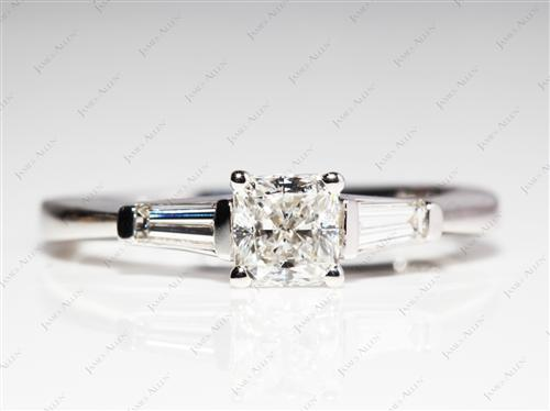 White Gold 0.71 Radiant cut Diamond Wedding Sets