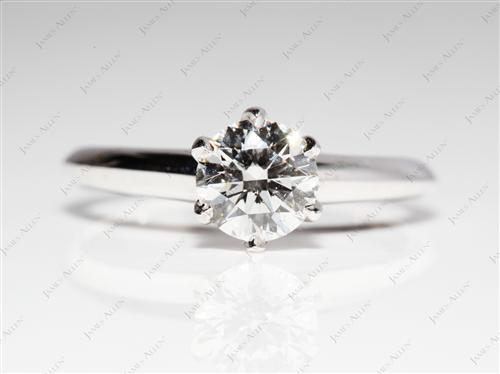 White Gold 0.77 Round cut Diamond Rings