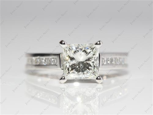 Platinum 1.56 Princess cut Diamond Channel Rings
