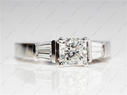White Gold 1.05 Radiant cut Engagement Ring With Sidestones