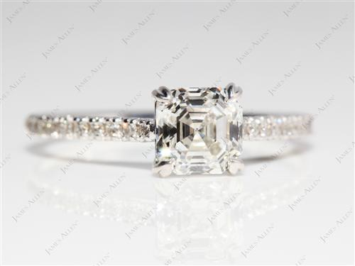 White Gold 1.06 Asscher cut Pave Ring Setting