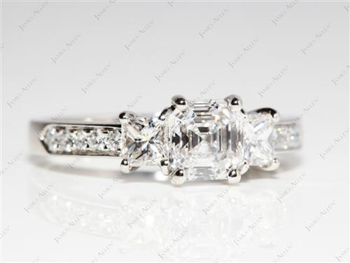 Platinum 1.06 Asscher cut Engagement Rings With Side Stones