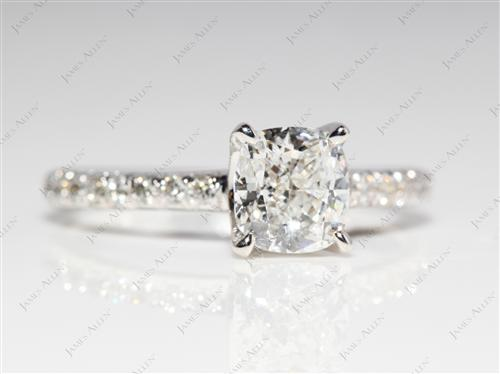 White Gold 1.02 Cushion cut Micro Pave Rings