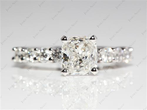 Platinum 1.04 Radiant cut Engagement Ring Side Stones