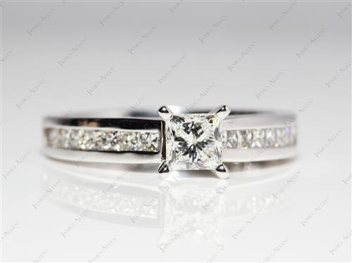 White Gold 0.57 Princess cut Channel Set Diamond Band