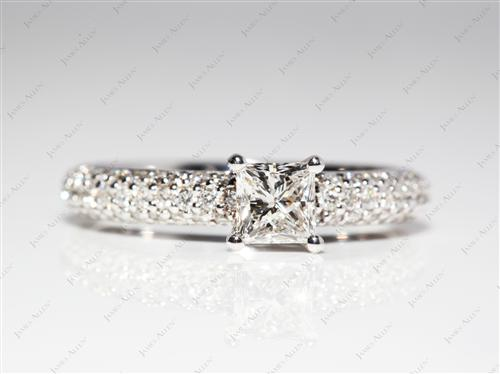 White Gold 0.50 Princess cut Micro Pave Ring