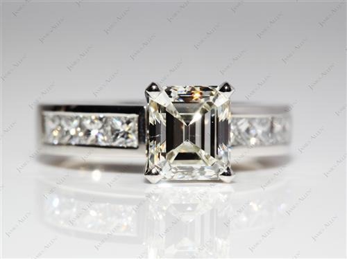 Platinum 1.70 Emerald cut Channel Engagement Ring