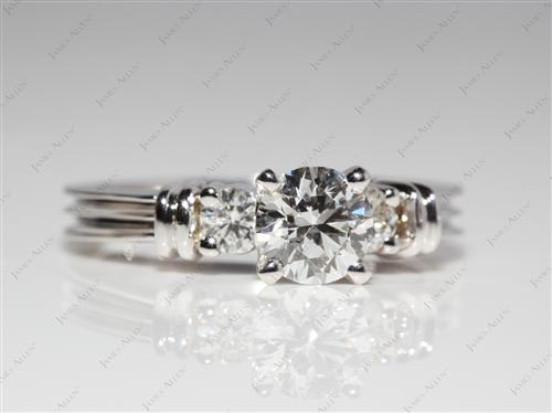 White Gold 0.56 Round cut Engagement Rings With Side Stones