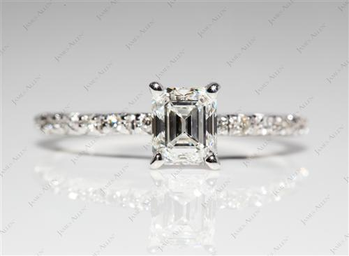 White Gold 0.66 Emerald cut Pave Setting Rings
