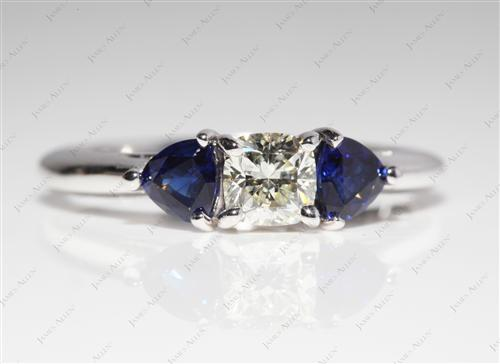 White Gold 0.52 Cushion cut Gemstones Ring