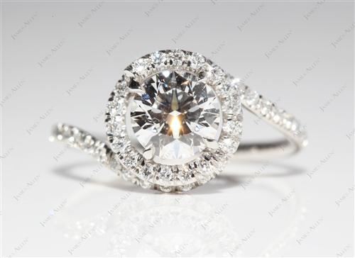 Platinum 1.02 Round cut Micro Pave Diamond Engagement Ring