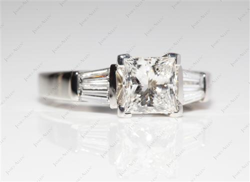 Platinum 1.02 Princess cut Engagement Rings With Sidestones