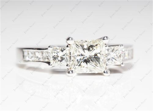 White Gold 1.06 Princess cut Engagement Rings