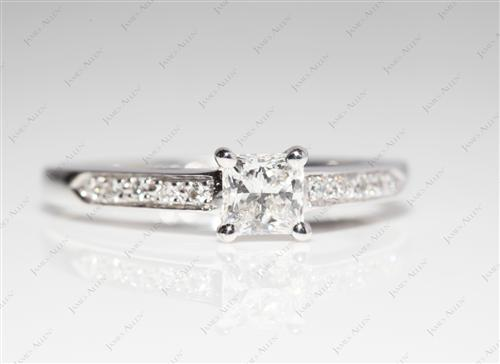White Gold 0.45 Princess cut Pave Diamond Ring