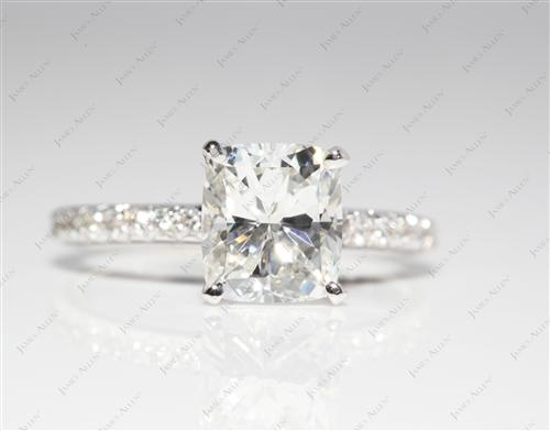 White Gold 1.50 Cushion cut Pave Ring Set