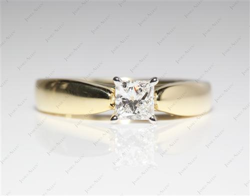 Gold 0.40 Princess cut Diamond Ring
