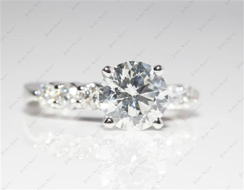 Platinum 1.51 Round cut Engagement Rings Side Stones