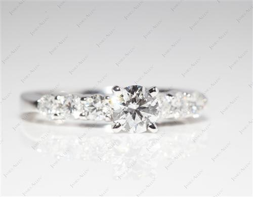 Platinum 0.43 Round cut Side Stone Engagement Ring