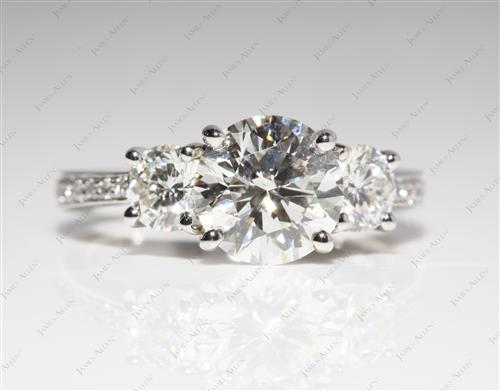 Platinum 1.77 Round cut Engagement Ring Settings With Side Stones