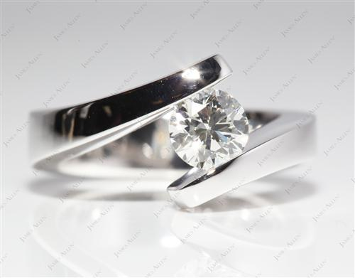 White Gold 0.77 Round cut Diamond Tension Rings