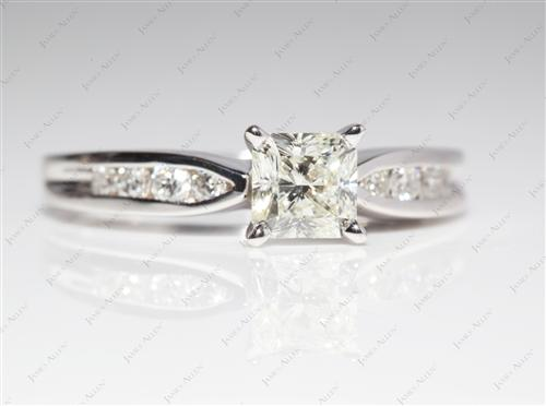 White Gold 0.86 Radiant cut Diamond Channel Rings