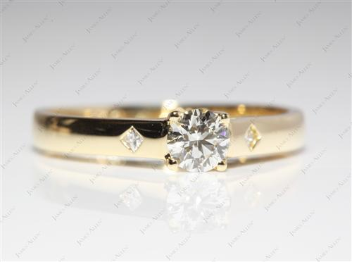Gold 0.44 Round cut Engagement Rings