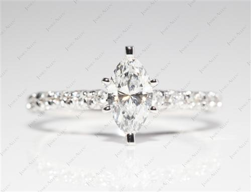 White Gold 0.60 Marquise cut Pave Rings