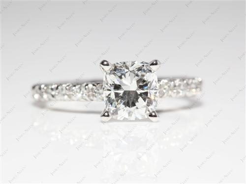 Platinum 1.30 Cushion cut Engagement Ring