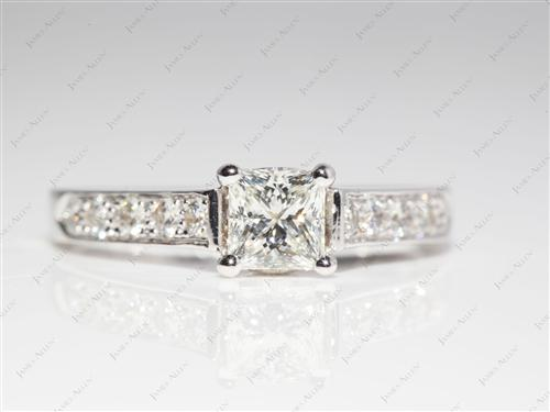 White Gold 0.73 Princess cut Micro Pave Rings