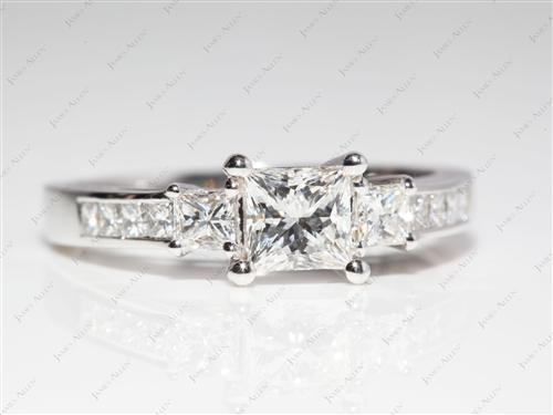 White Gold 0.85 Princess cut Engagement Rings