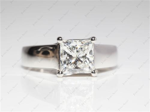Platinum 1.50 Princess cut Solitaire Ring Setting