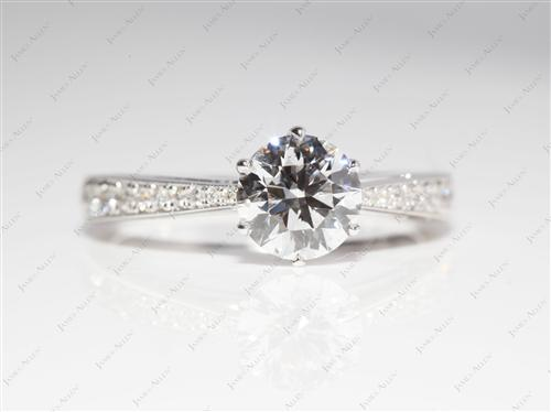 White Gold 1.01 Round cut Pave Ring Setting