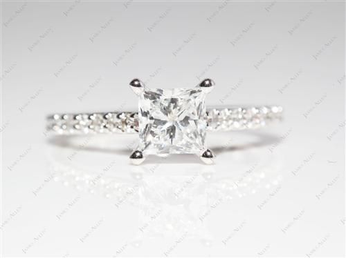 White Gold 1.04 Princess cut Diamond Rings With Side Stones