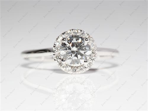 White Gold 0.78 Round cut Pave Diamond Engagement Rings