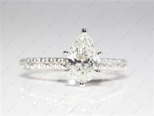 White Gold 1.32 Pear shaped Engagement Rings With Side Stones