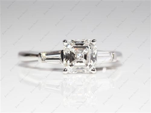 White Gold 1.51 Emerald cut Diamond Wedding Rings