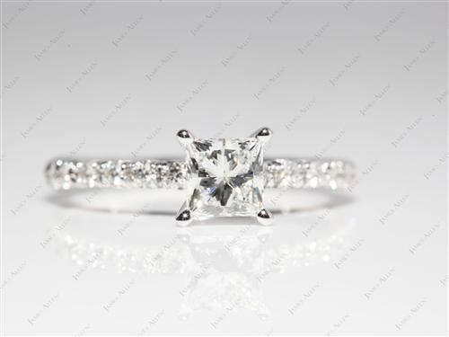 White Gold 0.78 Princess cut Pave Engagement Ring