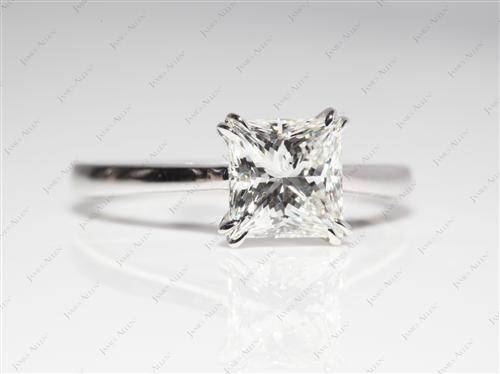 White Gold 1.54 Princess cut Diamond Solitaire Rings