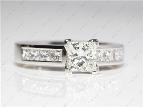 Platinum 1.05 Princess cut Channel Cut Ring