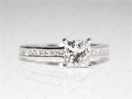 White Gold 1.04 Princess cut Channel Set Diamond Ring