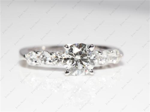 White Gold 0.83 Round cut Engagement Ring With Side Stones