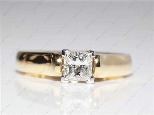 Gold 0.71 Princess cut Diamond Solitaire Engagement Ring