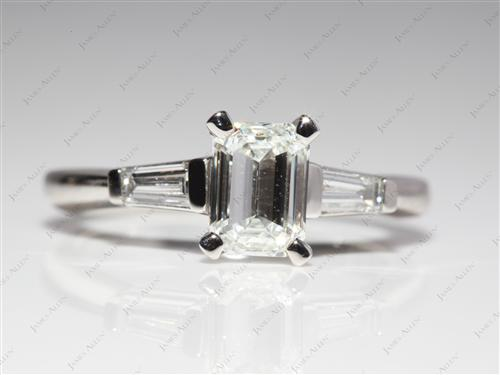 Platinum 1.20 Emerald cut Engagement Rings