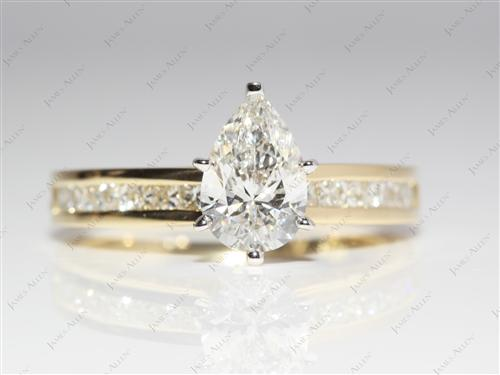 Gold 1.10 Pear shaped Channel Set Diamonds