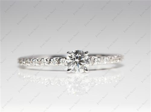 White Gold 0.34 Round cut Diamond Ring