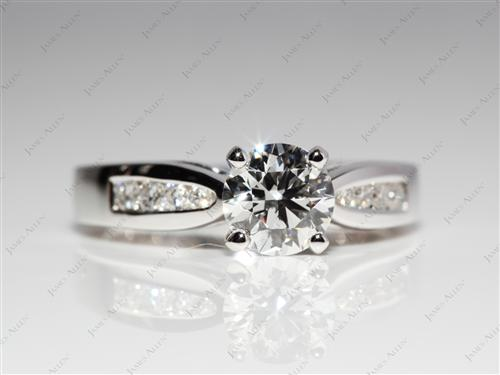 White Gold 0.53 Round cut Round Solitaire Ring