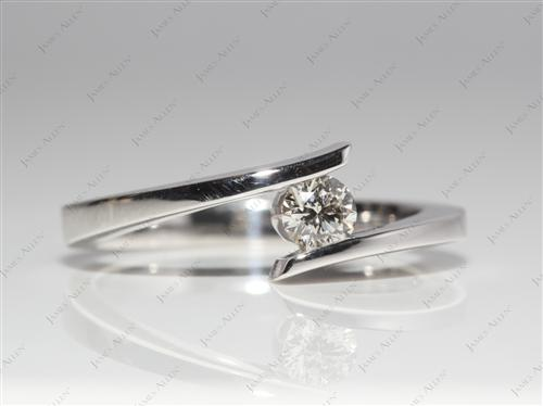 White Gold 0.32 Round cut Diamond Solitaire Ring Settings