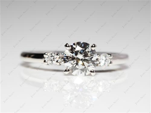 Platinum 0.80 Round cut Engagement Ring